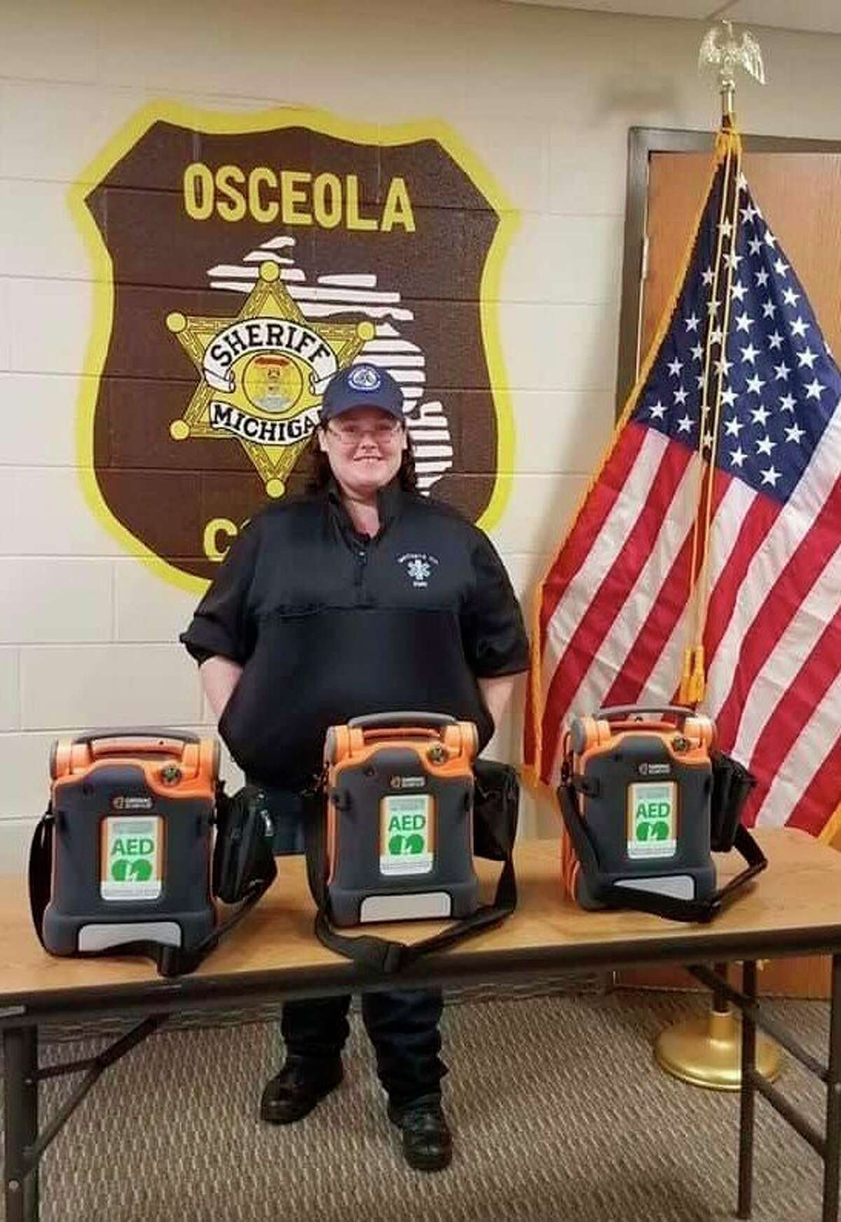Jenny Edstrom, who works for Mecosta County EMS and is the wife of an Osceola County deputy, was instrumental in procuring the AED's donated to local agencies in Mecosta, Osceola and Lake counties. (Photo courtesy of Osceola County Sheriff's department)