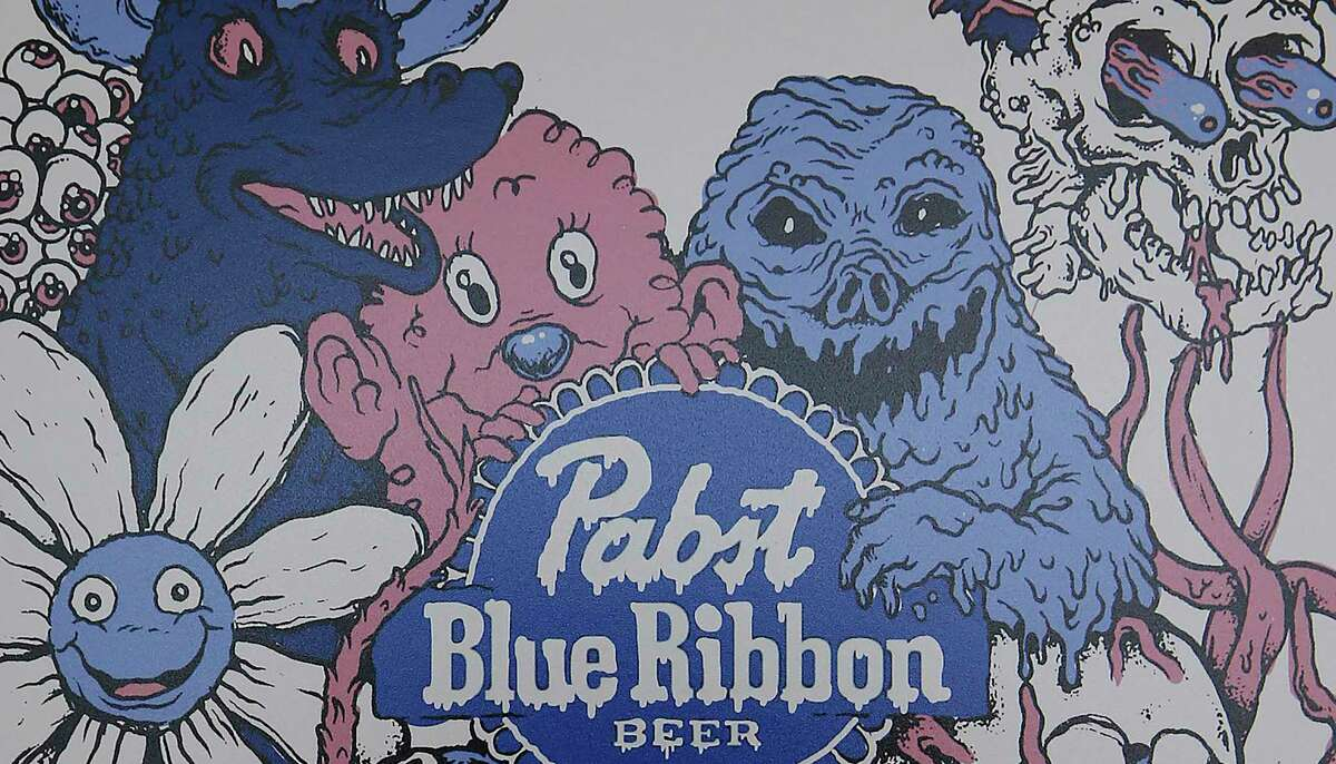 """""""Monster Party,"""" by Austin artist Patrick Carroll, is one of the top 25 entries in the Pabst Brewing Company's 2020 can design contest. The images are on display in the new Pabst Blue Ribbon Studios gallery in Southtown."""