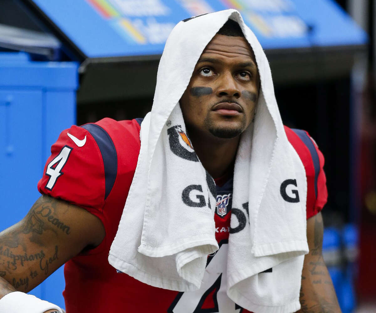 Houston Texans quarterback Deshaun Watson (4) sits on the bench during an NFL game against the Denver Broncos at NRG Stadium Sunday, Dec. 8, 2019, in Houston.