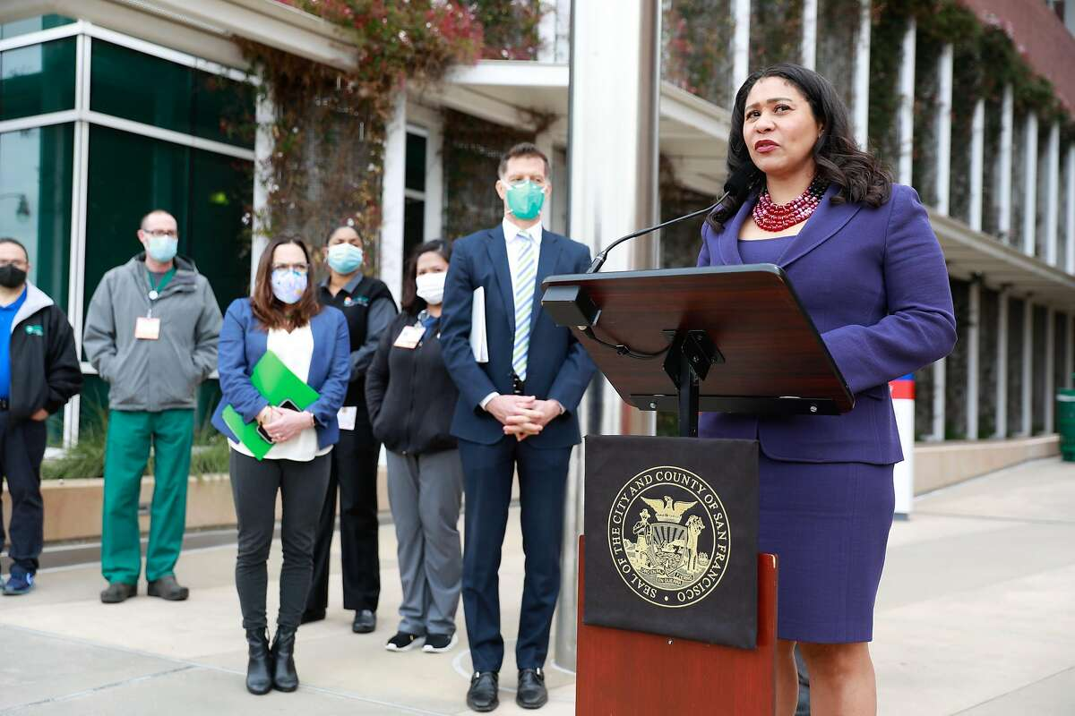 San Francisco Mayor London Breed speaks to commemorate the one year anniversary of the shutdown due to the COVID-19 pandemic at San Francisco General Hospital Wednesday.