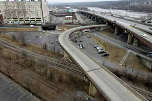 View of the I-787 ramp that will become Albany's new Skyway elevated park on Wednesday, March 17, 2021, in Albany, N.Y. The state will begin construction on the $13 million project later this month. (Will Waldron/Times Union)