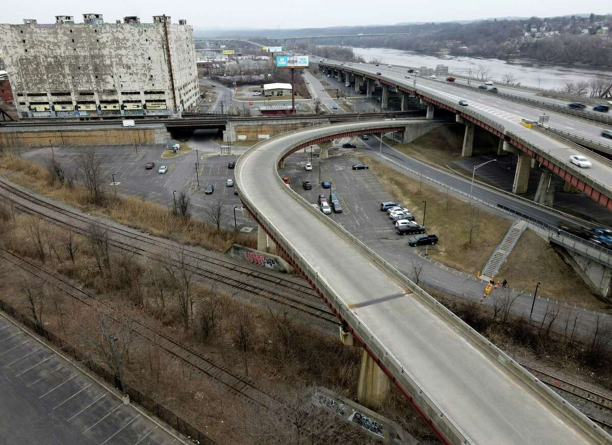 """FILE. Letter writer says, 'I winced when I accessed """"Construction of Albany's elevated Skyway park starts this month,"""" March 17, because of the rotting Central Warehouse dominant in the two photos of the Interstate 787 ramp slated to become that park.' (Will Waldron/Times Union)"""