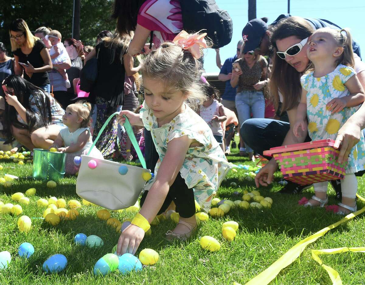 Magnolia Cowboy Church will offer an Easter egg drop event on March 27. In this photo from 2019, families begin an Easter egg hunt during the Egg Drop at Salem Lutheran Church & School in Tomball.