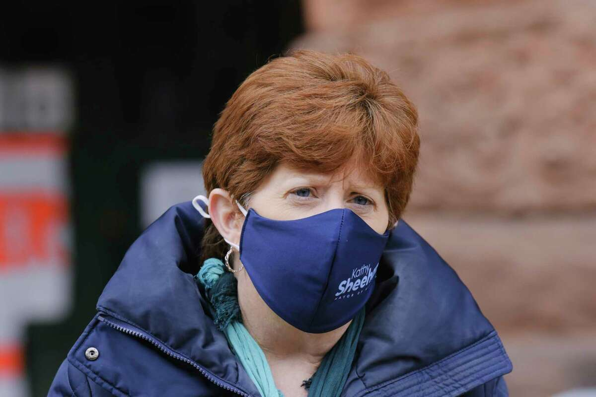 Albany Mayor Kathy Sheehan talks to members of the media after she received her first dose of a COVID vaccine at the Washington Avenue Armory on Wednesday, March 17, 2021, On Aug. 5, 2021 she issued a mask mandate for inside city buildings. (Paul Buckowski/Times Union)