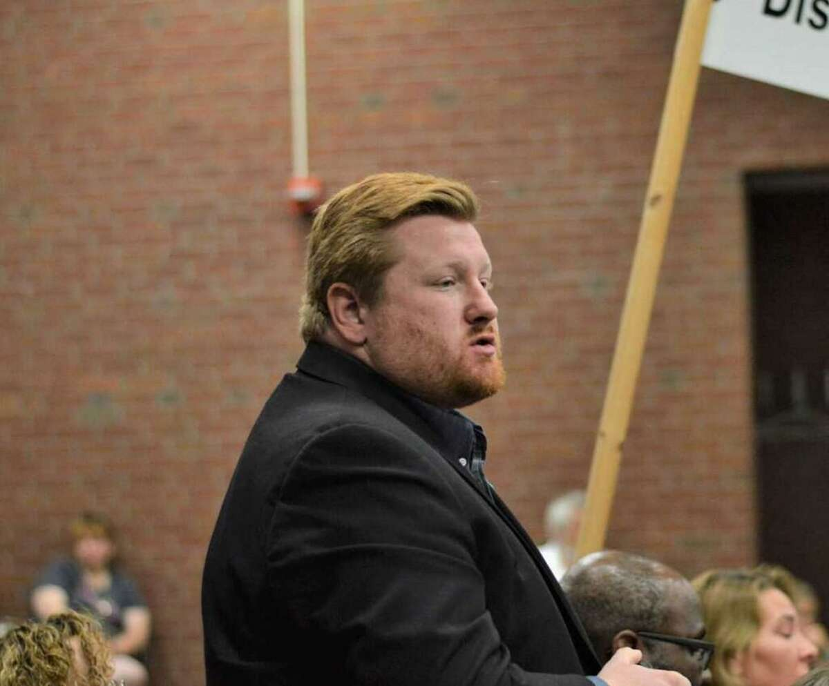 Councilman Brad Macdowall, pictured at a 2019 nominating convention, is seeking the Democratic endorsement to run for mayor of Hamden in 2021.