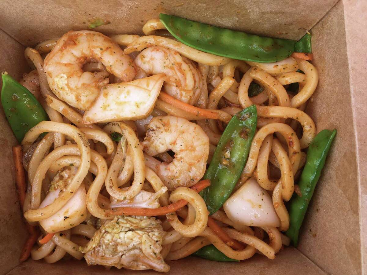 Sichuan shrimp with udon noodles from The Asian Peach