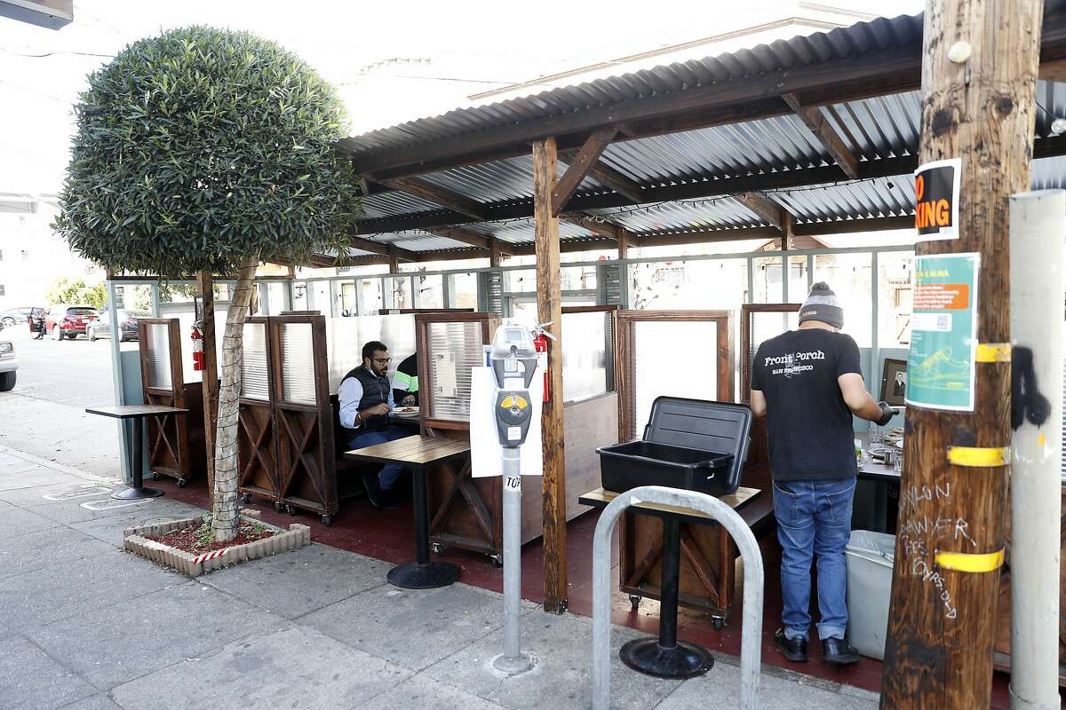 Restaurants like Front Porch on 29th Street in San Francisco built parklets to help business during shelter-in-place.