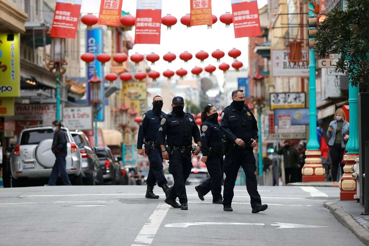 SAN FRANCISCO, CALIFORNIA - MARCH 17: San Francisco police officers patrol Chinatown on March 17, 2021 in San Francisco, California. The San Francisco police have stepped up patrols in Asian neighborhoods in the wake of a series of shootings at spas in the Atlanta area that left eight people dead, including six Asian women. The main suspect, Robert Aaron Long, 21, has been taken into custody. The San Francisco Bay Area is also seeing an increase in violence against the Asian community. (Photo by Justin Sullivan/Getty Images)