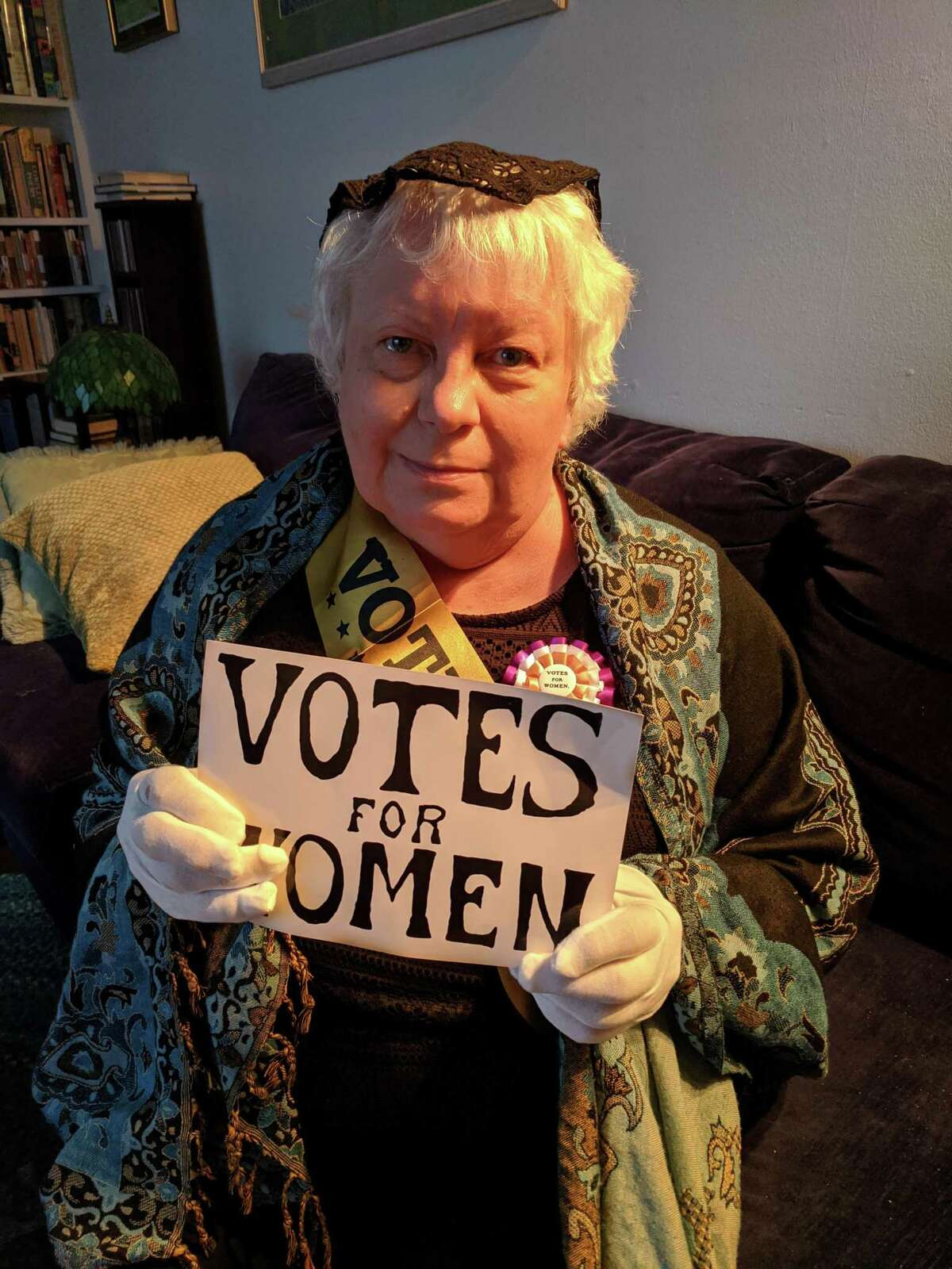 """Lesley Keogh, a Wilton Library staff member, will channel her inner Elizabeth Cady Stanton, a founding mother of the women's suffrage movement in a program titled: """"Visit with Elizabeth Cady Stanton,"""" March 12, from 4 to 5 p.m."""