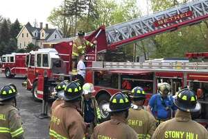 Bethel Volunteer Fire Department and Stony Hill Fire Department train on the aerial ladder truck