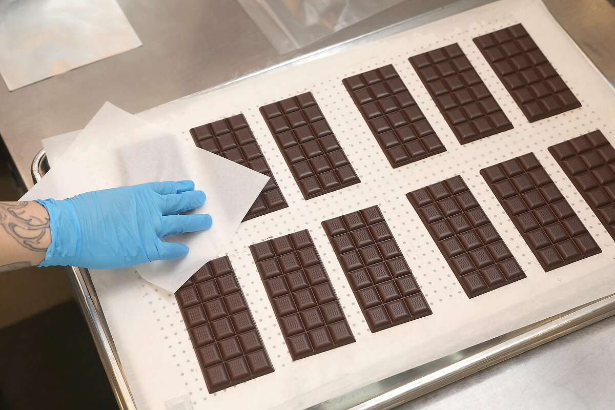 Dandelion chocolate bars are ready to be wrapped at the company's large San Francisco factory. Dandelion's workers announced Wednesday their intent to unionize.