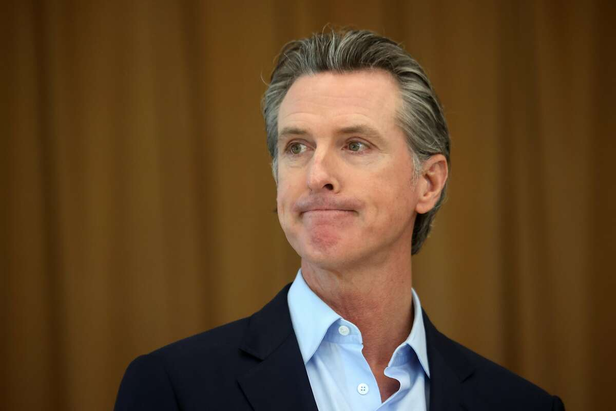 Gov. Gavin Newsom during a news conference in Alameda on March 16, 2021.