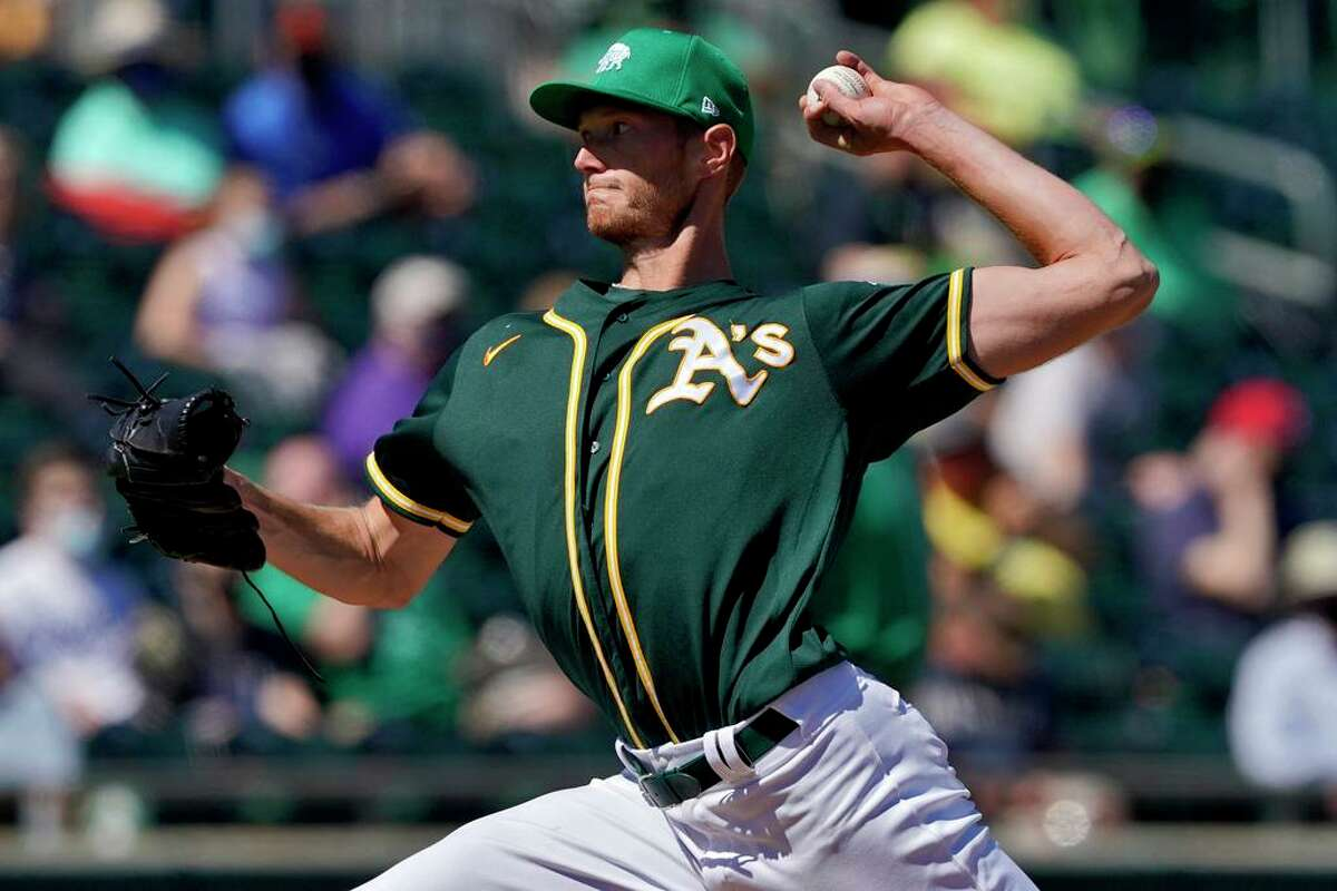 A.J. Puk made his 2021 Cactus League debut with two innings against the Royals.