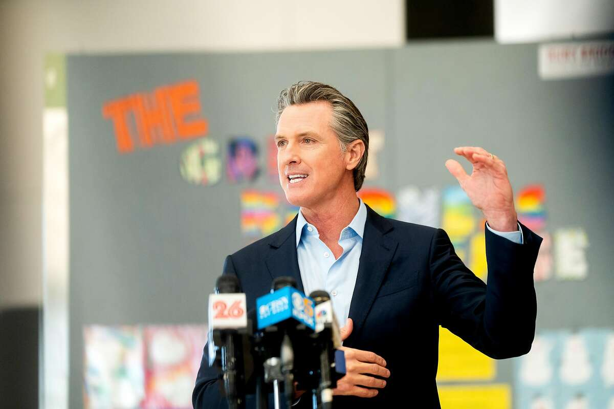 Gov. Gavin Newsom speaks during a press conference at Ruby Bridges Elementary School in Alameda. The district had just opened its schools.
