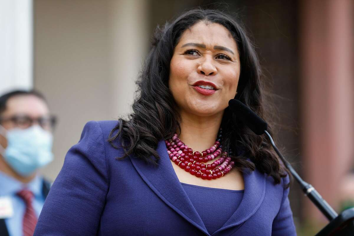 San Francisco Mayor London Breed at a news conference March 17, 2021. On Tuesday, Breed said the city would largely follow state guidelines in fully reopening the economy June 15.