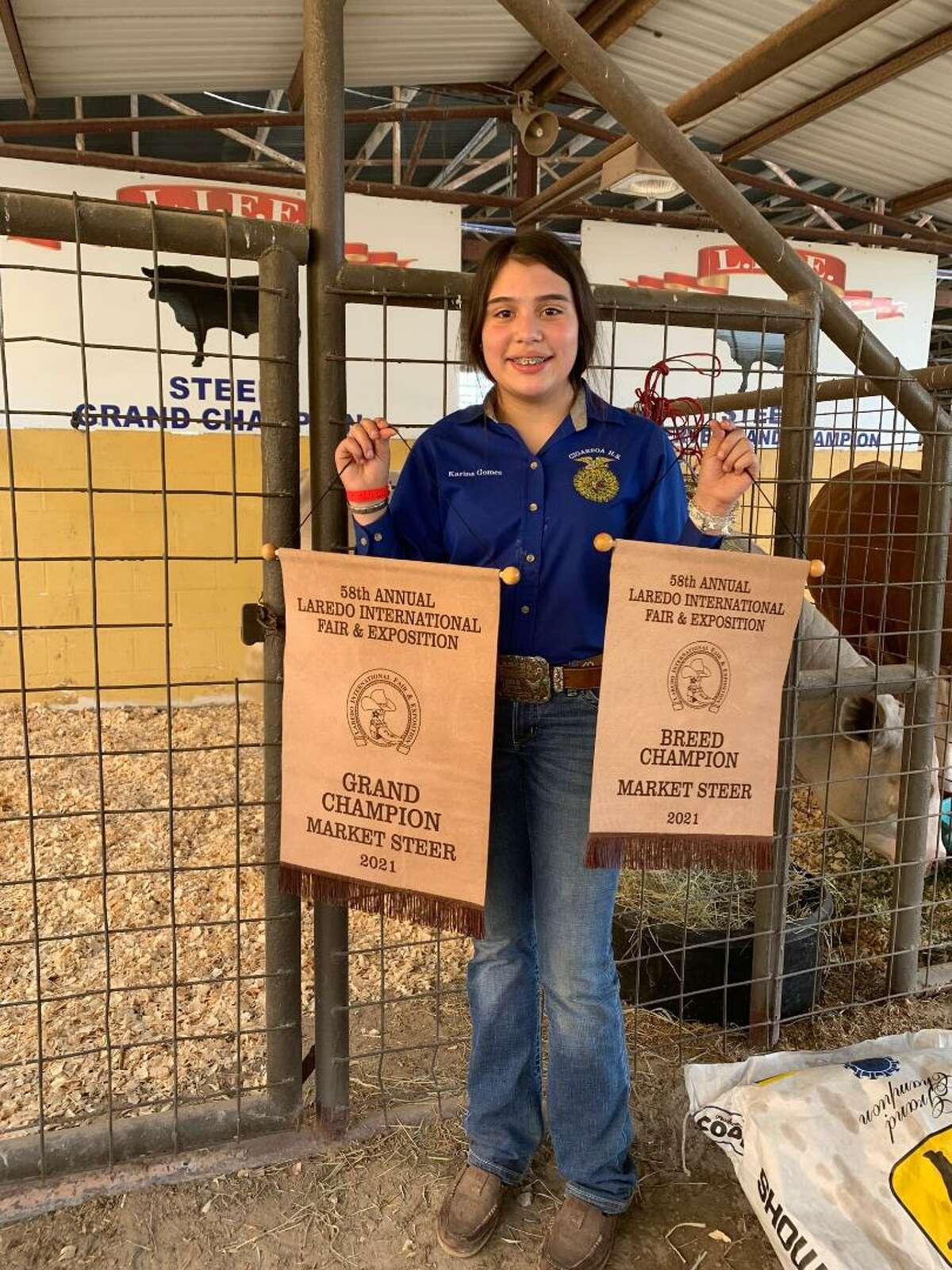 Karina Gomez, an eighth grader at Cigarroa Middle School and a member of the Cigarroa High School's Jr. FFA Program, was recently named Grand Champion for Market Steer at the 2021 Laredo International Fair and Exposition Livestock Show. She was also named Breed Champion at the fair.