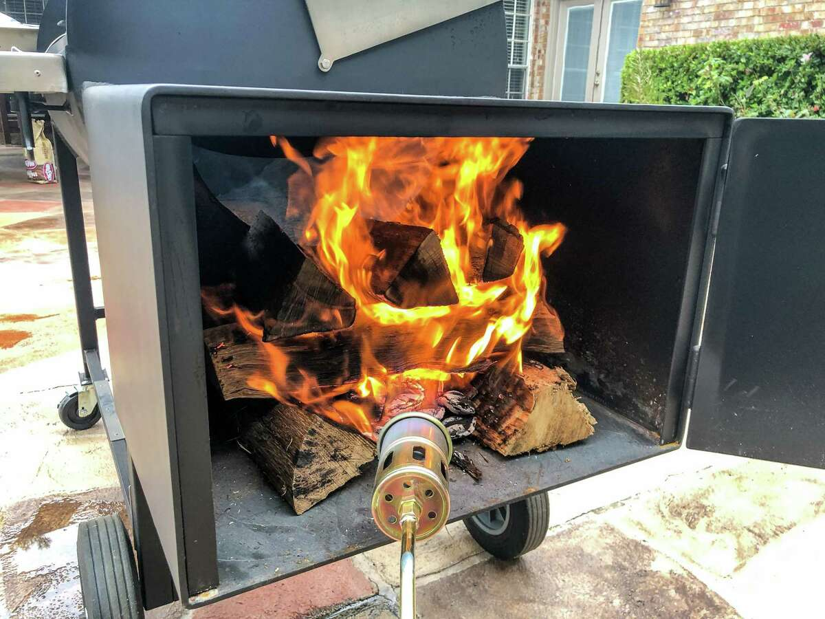 Lighting the fire in the firebox