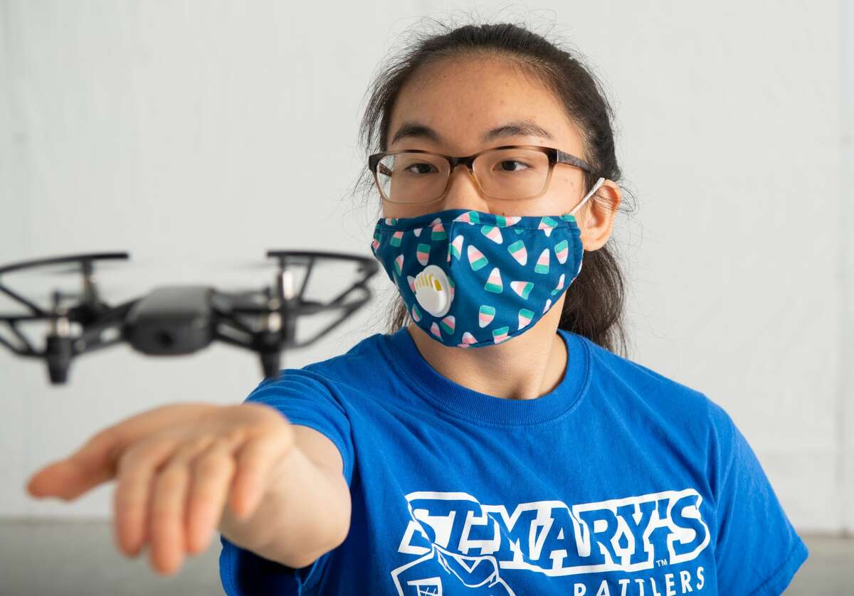 Kimberly Tse, Computer Engineering senior, is among the St. Mary's University students researching drone function in the university's new lab.
