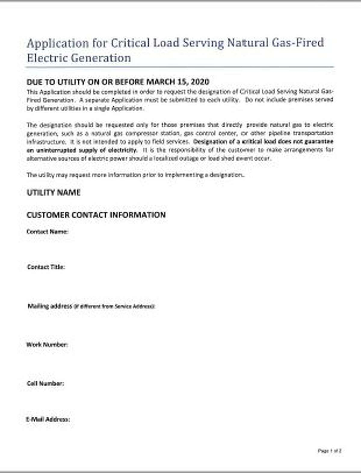 The two-page ERCOT form has been revised since the storm. This is the original version.