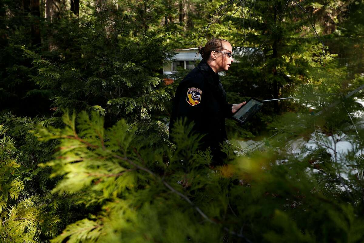 CalFire Defensible Space Inspector Susan Beeler checks out a property in Cohasset in Butte County (March 16).
