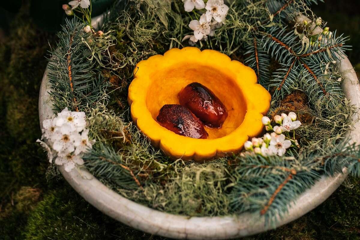 Roasted Japanese pumpkin with barley malt, burnt orange ice cream and pumpkin seed praline at SingleThread in Healdsburg.