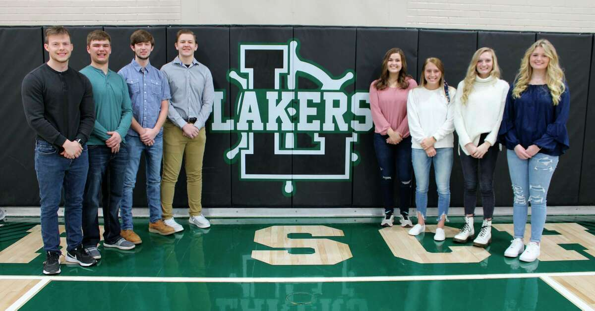 Despite Laker High School students transitioning to remote learning, the Coming Home game and crowning on Friday will continue as scheduled. The senior court members are, from the left, James Courter, Collin Schuette, Jared Chandler, Garrett Fritz, Leah Irion, Kaylynn Carr, Savannah Beachy and Hannah Penfold. (Courtesy Photo)