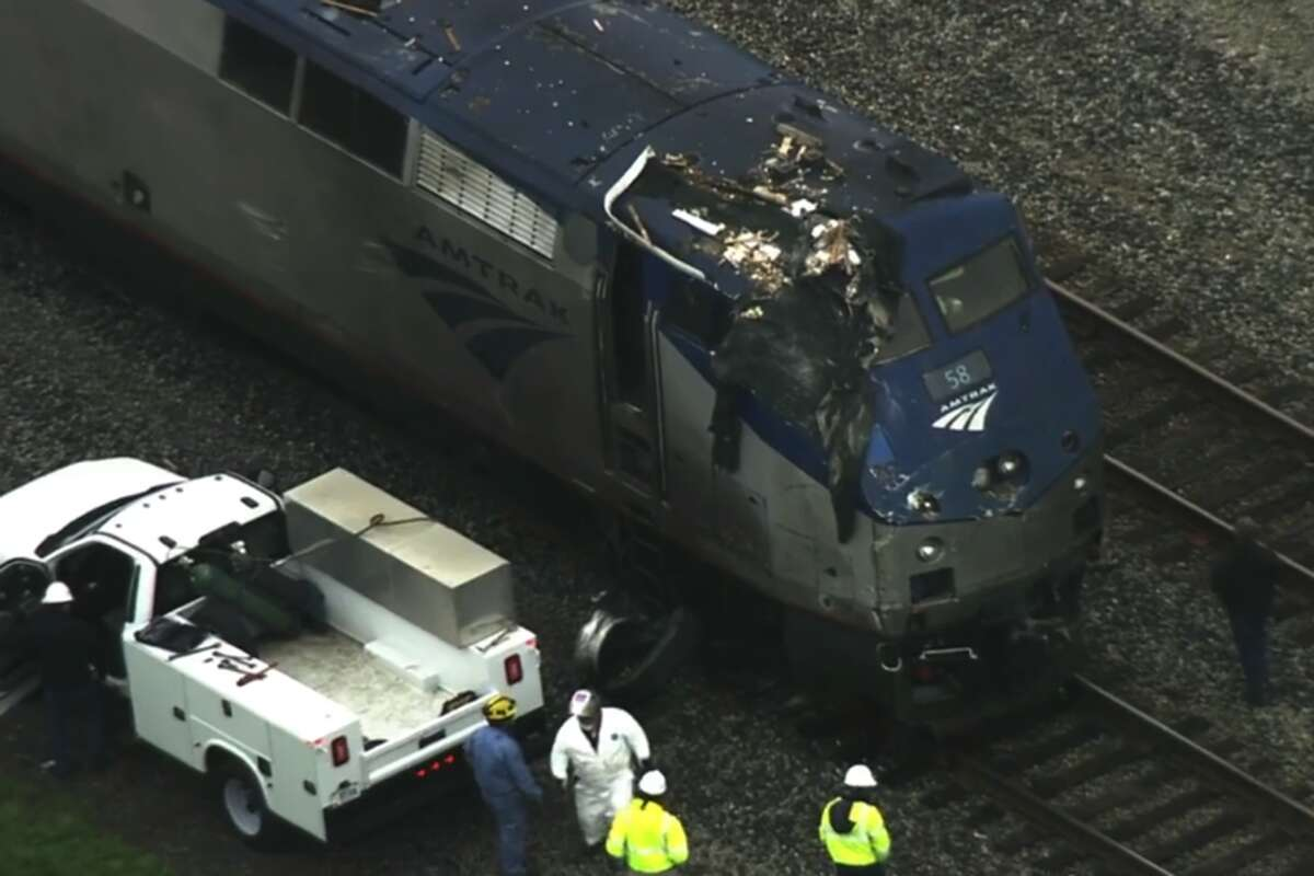 An Amtrak train was involved in a crash with a truck at Fruitvale Avenue in Oakland, Calif., on March 18, 2021.