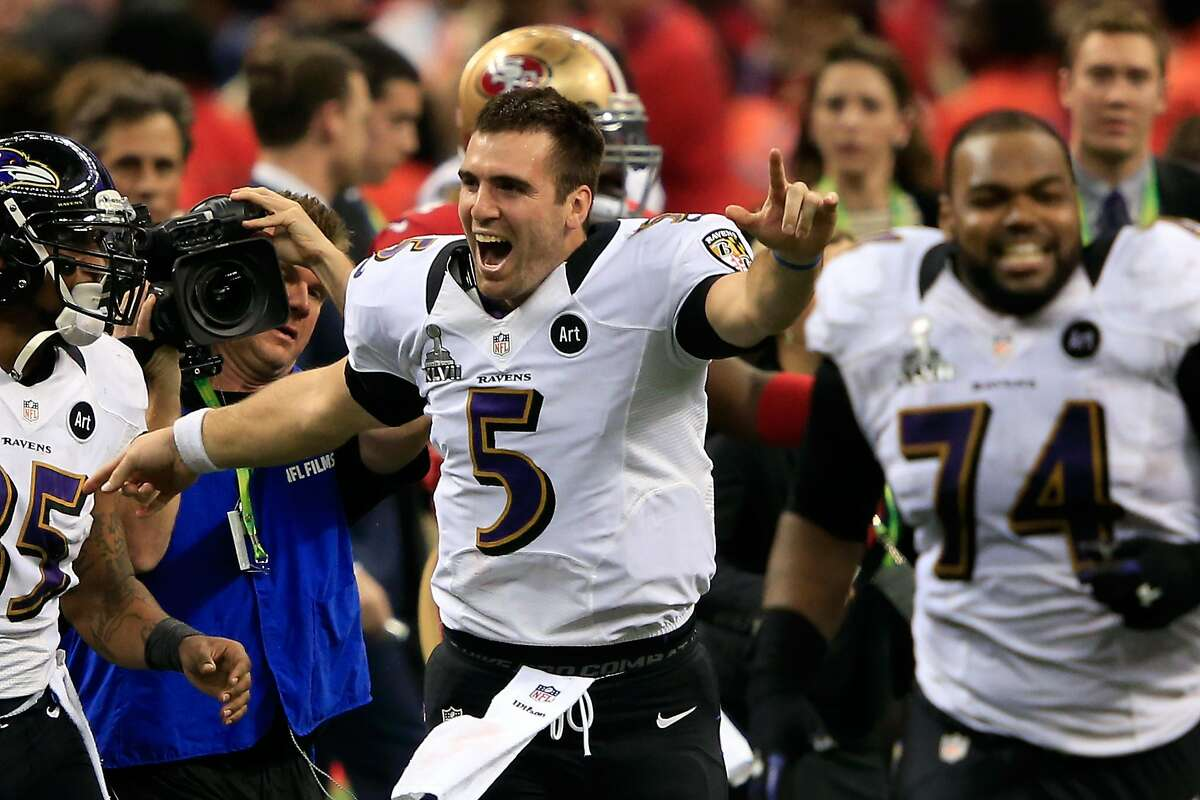 NEW ORLEANS, LA - FEBRUARY 03: Joe Flacco #5 of the Baltimore Ravens celebreates with his teammates after defeating the San Francisco 49ers during Super Bowl XLVII at the Mercedes-Benz Superdome on February 3, 2013 in New Orleans, Louisiana. The Ravens defeated the 49ers 34-31. (Photo by Jamie Squire/Getty Images)