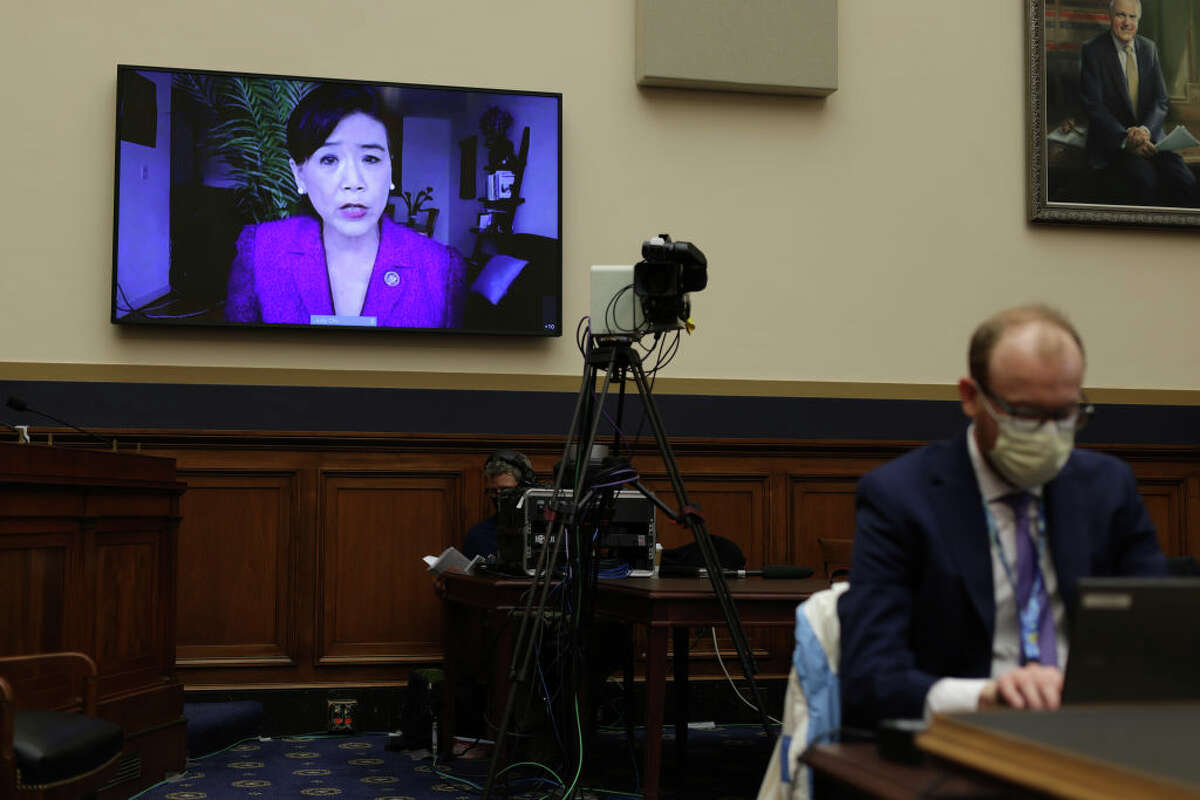U.S. Rep. Judy Chu, D-Calif.,testifies virtually during a hearing before the Subcommittee on the Constitution, Civil Rights, and Civil Liberties of the House Judiciary Committee at Rayburn House Office Building on Capitol Hill on March 18, 2021, in Washington, D.C.