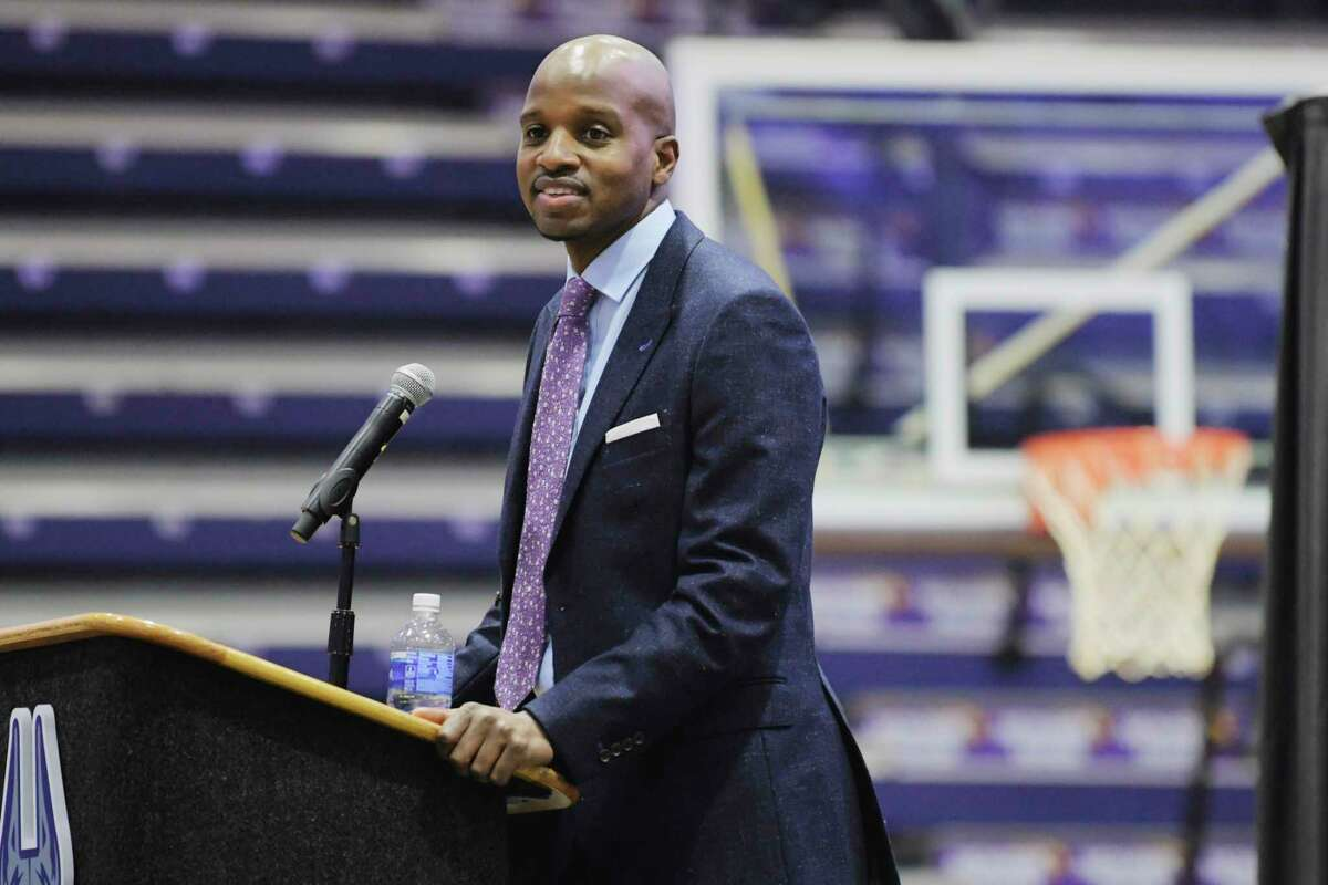 Dwayne Killings speaks at an event at the SEFCU Arena at UAlbany where Killings was introduced as the new men's basketball coach on Thursday, March 18, 2021, in Albany, N.Y. (Paul Buckowski/Times Union)