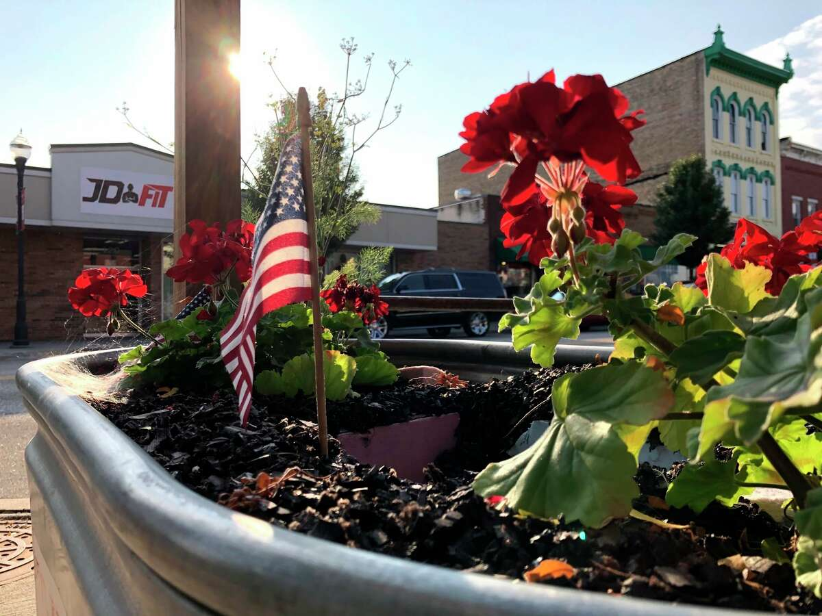 In this file photo, a flower bed is pictured alone North Michigan Avenue in downtown Big Rapids. (Pioneer file photo)