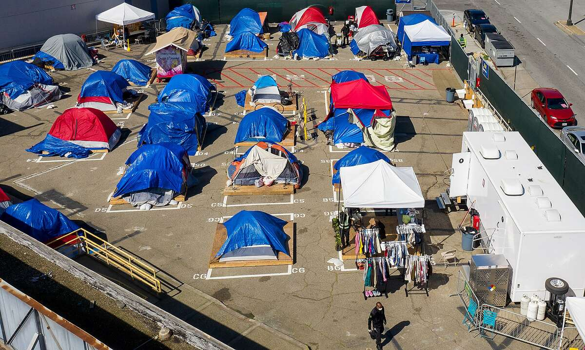 Tents line a city-sanctioned homeless encampment on Gough Street this month.