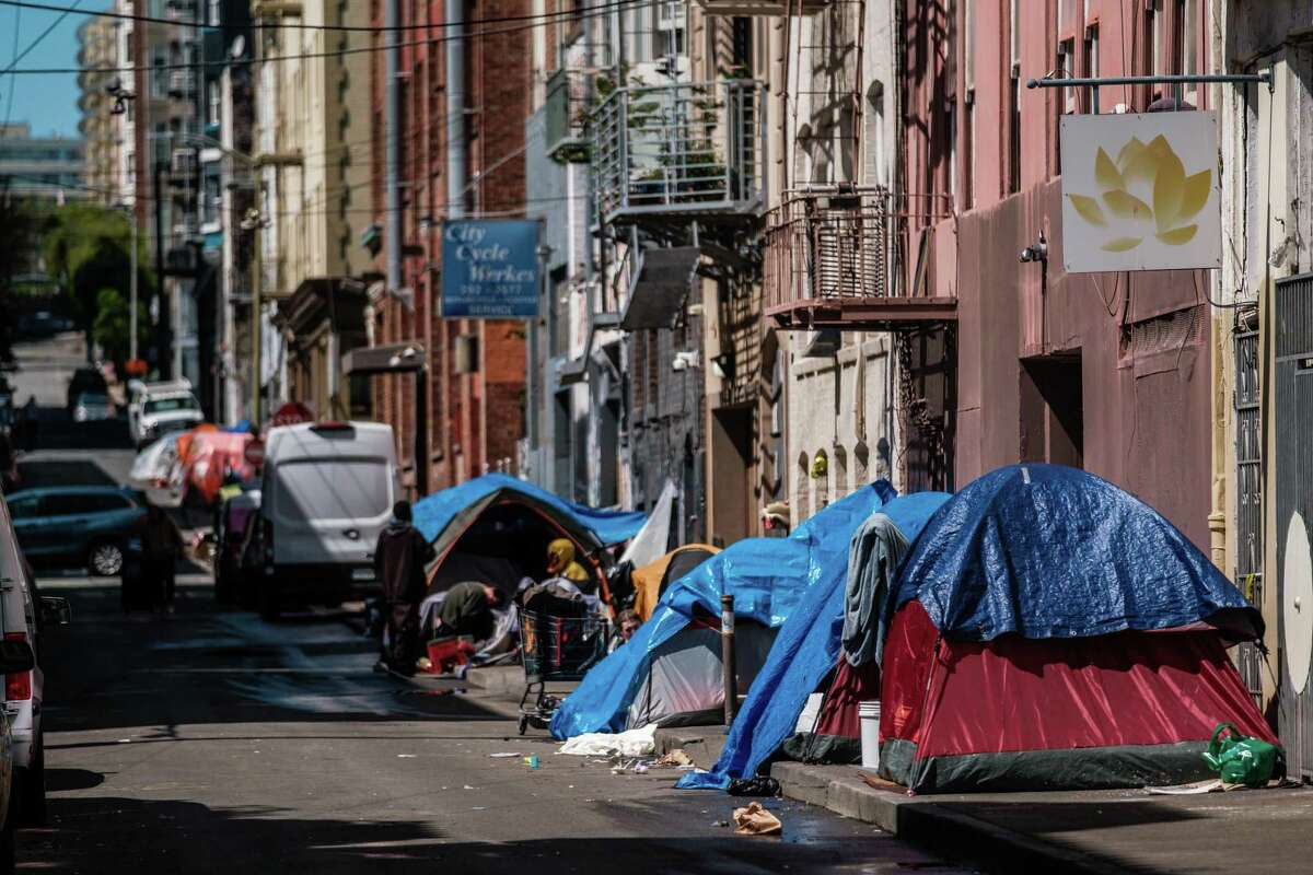 A row of homeless tents in a Tenderloin alley in April.