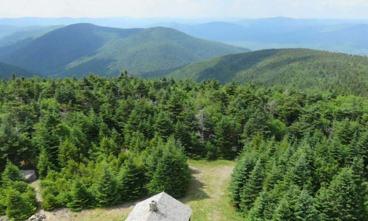 The view from the fire tower atop Hunter Mountain in the Catskills