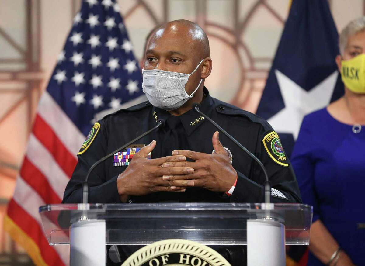 Houston Mayor Sylvester Turner announces he has picked Houston Police Department Executive Assistant Chief Troy Finner to replace Houston Police Chief Art Acevedo to be the next chief of the department Thursday, March 18, 2021, at Houston City Hall in Houston.