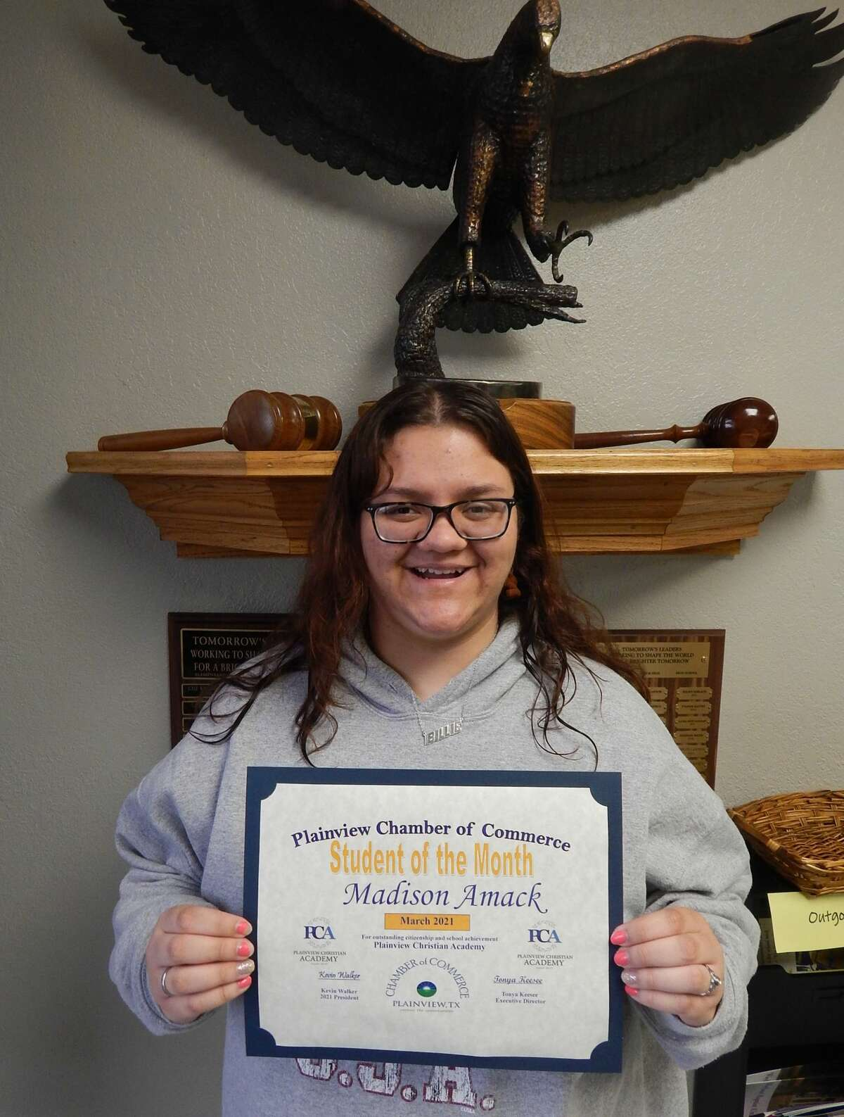 Madison Amack, a PCA senior, was recognized as the March 2021 Student of the Month by the Plainview Chamber of Commerce.