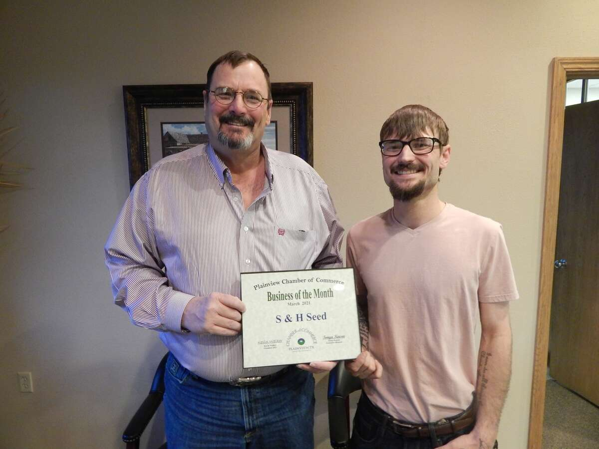 S & H Seed was recognized as the March 2021 Business of the Month by the Plainview Chamber of Commerce. Dwain Strange, the company's owner, was present with his son, Krese Strange, to receive the certificate of recognition.