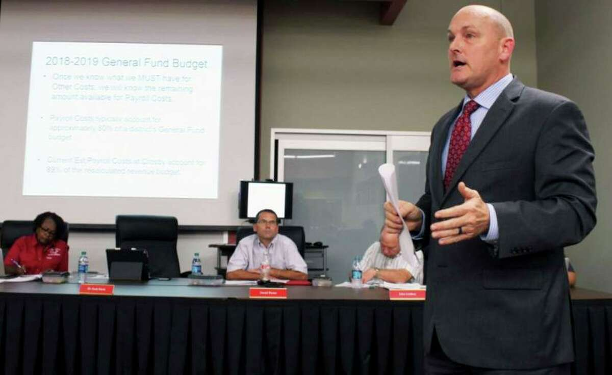 Dr. Scott Davis, Crosby ISD Superintendent discusses the districts finances at the board of trustees meeting Monday, Sept. 17, 2018. He said the only way to save the district from the financial crisis is to conduct a staff analysis and start laying off employees.