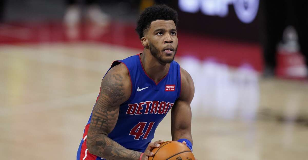 Detroit Pistons forward Saddiq Bey plays during the second half of an NBA basketball game, Wednesday, March 17, 2021, in Detroit. (AP Photo/Carlos Osorio)
