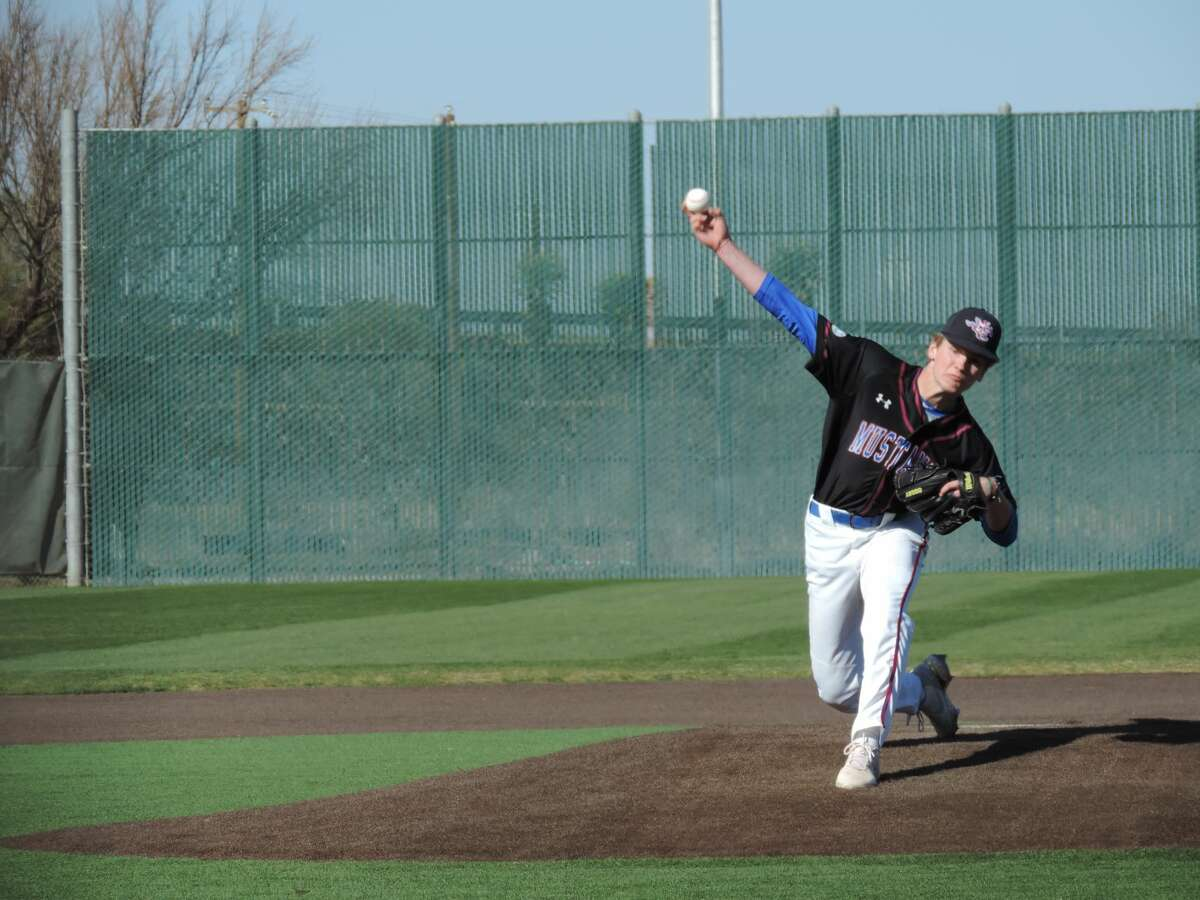 Midland Christian right-hander Tanner Carlisle delivers a pitch during a March 18 baseball game against Fort Worth All Saints at Christensen Stadium.