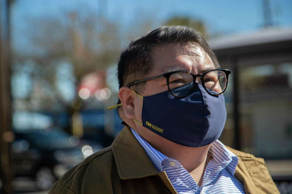 """Emmett Schelling, 40, stands near the supermarket by S Shepherd Drive and Alabama St., Thursday, March 18, 2021, in Houston, where a mother yanked her son away from him and said, """"those people are dirty."""" Schelling says the incident happened during the summer 2020 during the COVID-19 pandemic."""