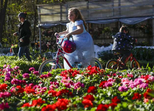 Myla Grace rides her bike past flowers at Quality Fruit, Thursday, March 18, 2021, in Conroe. Photo: Jason Fochtman/Staff Photographer