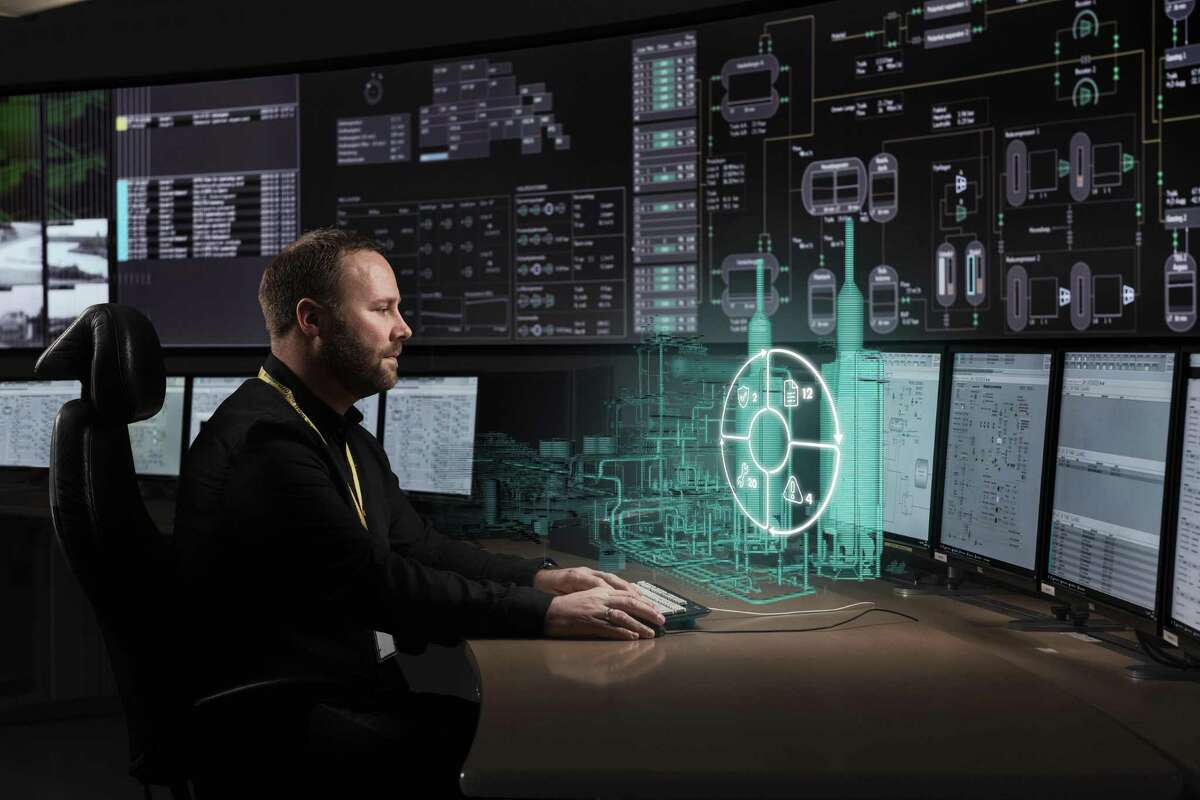 """The control room for producing """"digital twin"""" of energy plant equipment at Shell's Nyhamna facility in Norway."""