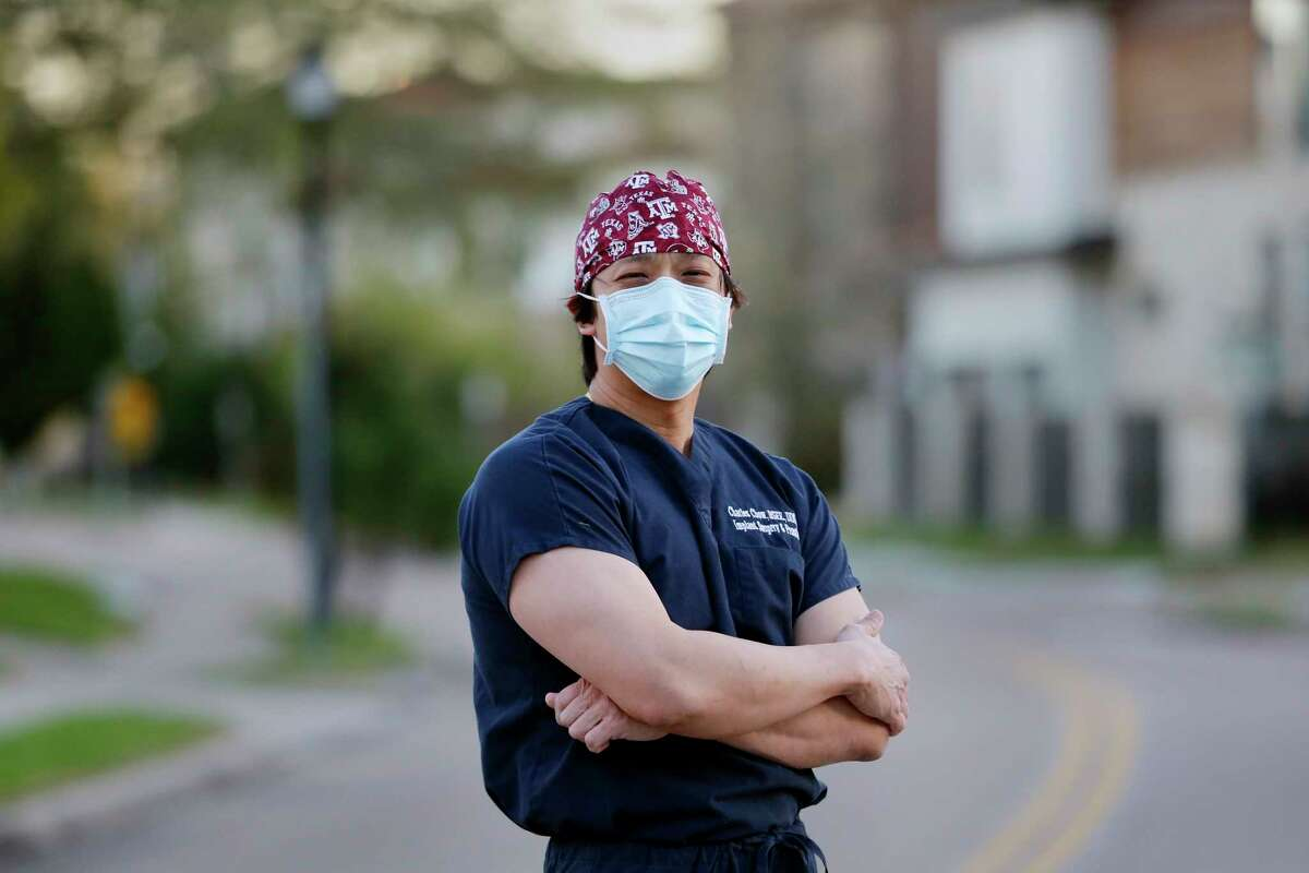 Dr. Charles Chow, a dentist who was verbally harassed by a neighbor when coming home from work one night, outside near his home Thursday, Mar. 18, 2021 in Houston, TX.