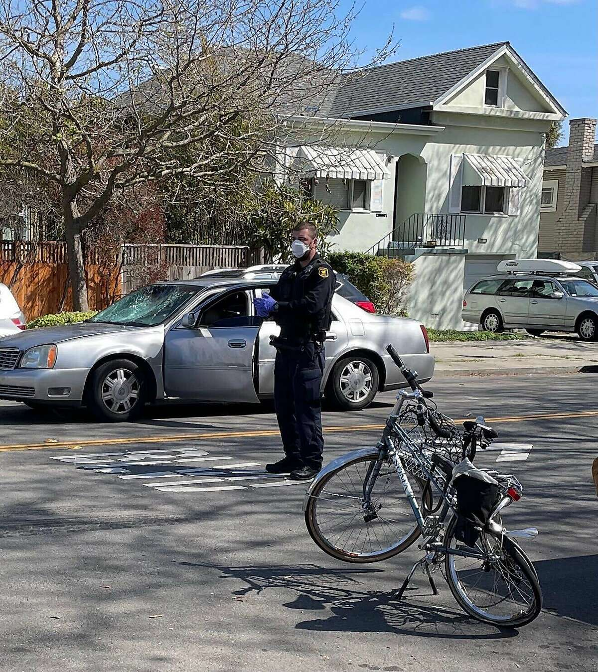 Jackie Erbe, a bike lane activist, was rear-ended by a car on Mar.16, 2021 while bicycling with her 8-year old child on 9th Street near Channing Way, seen here.