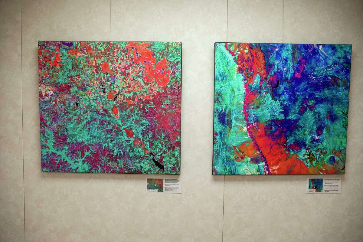 """""""Texas as Art"""" pieces as seen on March 2, 2021, at the Sibley Nature Center. Jacy Lewis/ Reporter-Telegram"""