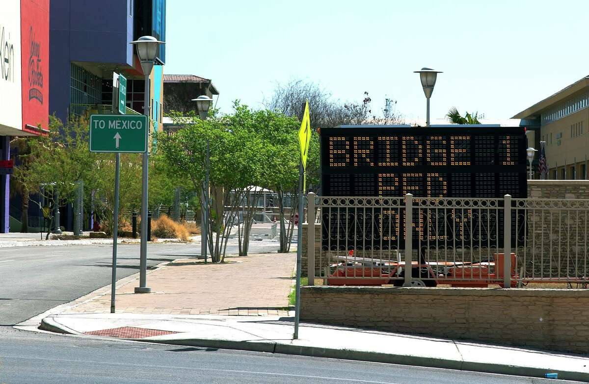 Entry into Mexico via the Gateway to the Americas International Bridge is closed as pictured on March 18, 2021.
