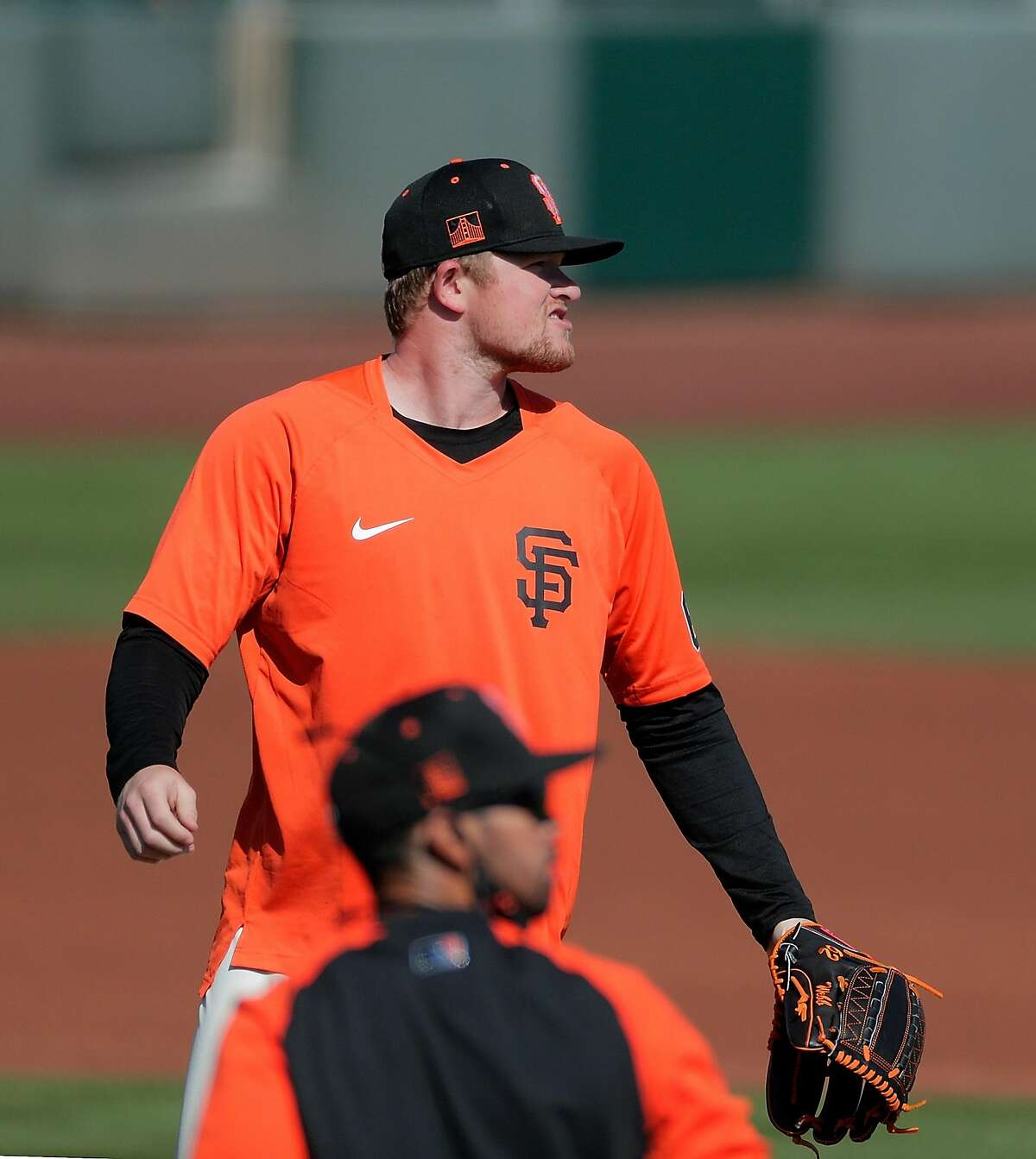 Logan Webb (62) during infield drills as the San Francisco Giants worked out at Scottsdale Stadium in Scottsdale, Ariz., on Thursday, March 4, 2021.
