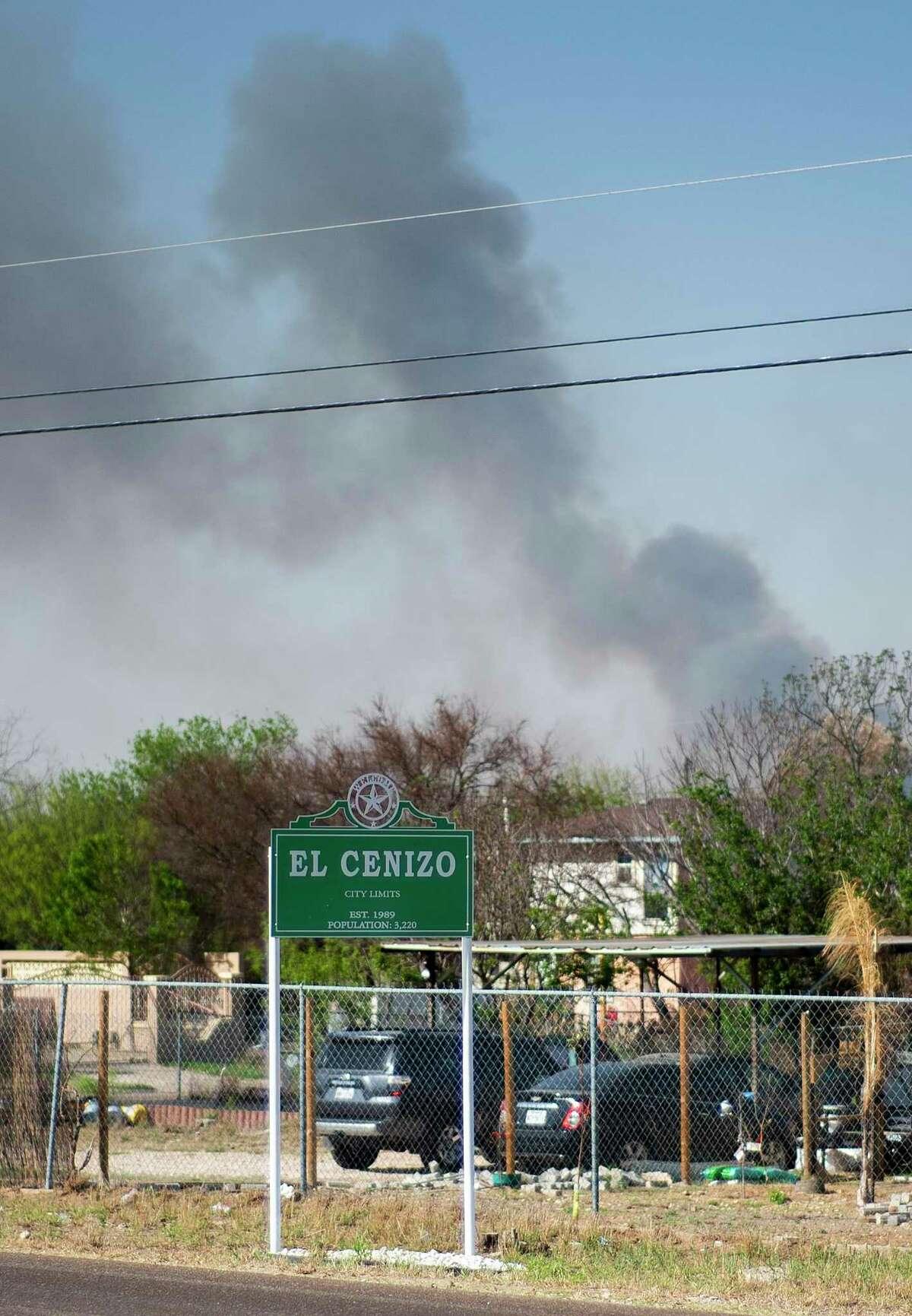 On Thursday, March 18, 2021, near El Cenizo, Texas, bushfires will burn on the <a class=
