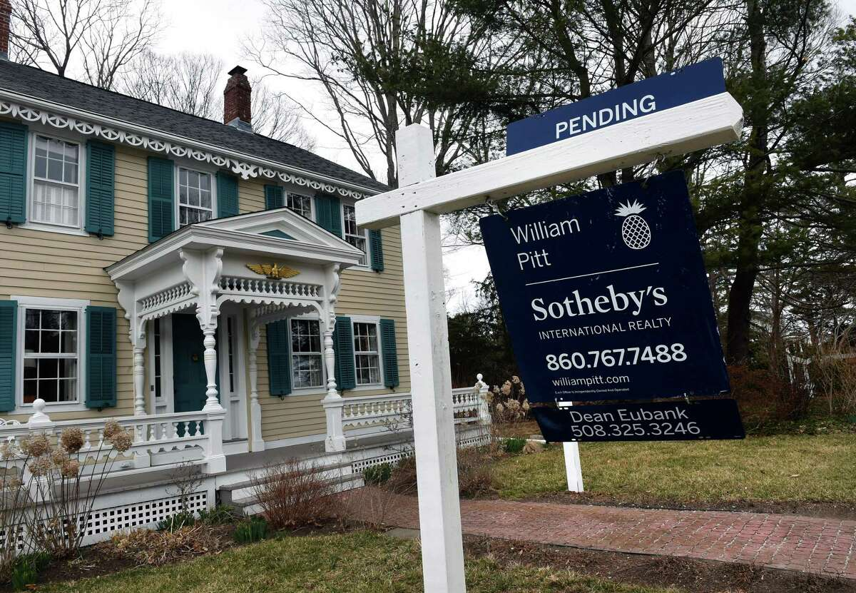 A home on Maple Avenue in Essex with a sale pending sign on March 14, 2021.